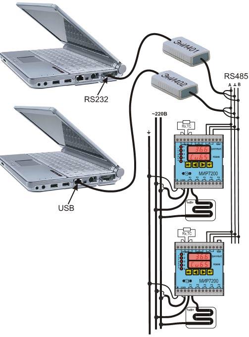 ...RS485 в сеть и подключения этой сети к компьютерному порту RS232 через преобразователь интерфейса ЭнИ-401...